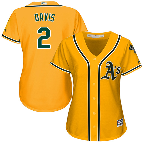 Women's Majestic Oakland Athletics #2 Khris Davis Authentic Gold Alternate 2 Cool Base MLB Jersey