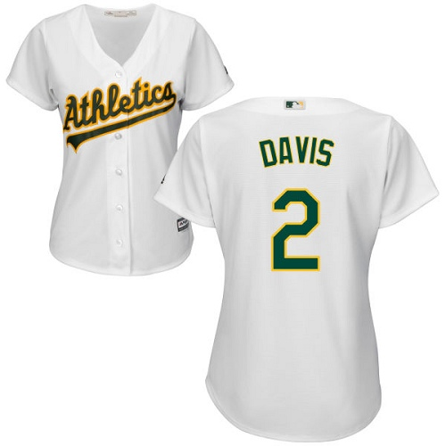 Women's Majestic Oakland Athletics #2 Khris Davis Authentic White Home Cool Base MLB Jersey