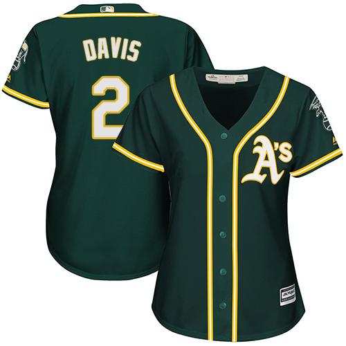 Women's Majestic Oakland Athletics #2 Khris Davis Replica Green Alternate 1 Cool Base MLB Jersey