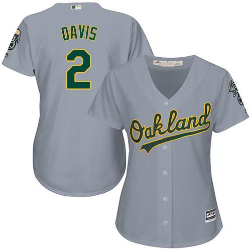 Women's Majestic Oakland Athletics #2 Khris Davis Replica Grey Road Cool Base MLB Jersey