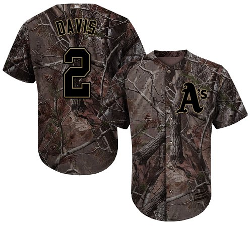 Youth Majestic Oakland Athletics #2 Khris Davis Authentic Camo Realtree Collection Flex Base MLB Jersey