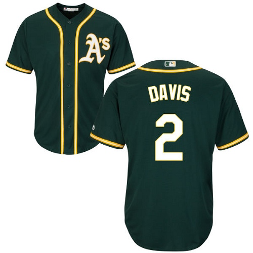 Youth Majestic Oakland Athletics #2 Khris Davis Replica Green Alternate 1 Cool Base MLB Jersey