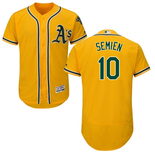 Men's Majestic Oakland Athletics #10 Marcus Semien Gold Alternate Flex Base Authentic Collection MLB Jersey