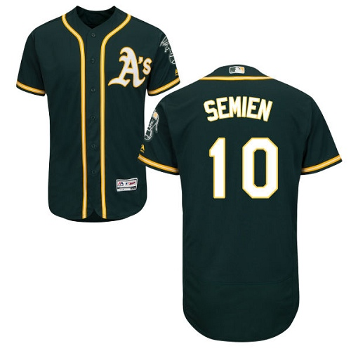 Men's Majestic Oakland Athletics #10 Marcus Semien Green Alternate Flex Base Authentic Collection MLB Jersey
