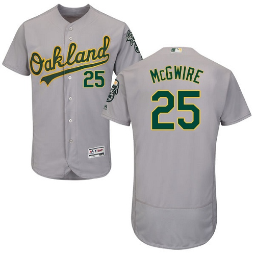 Men's Majestic Oakland Athletics #25 Mark McGwire Grey Road Flex Base Authentic Collection MLB Jersey