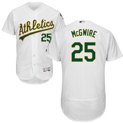 Men's Majestic Oakland Athletics #25 Mark McGwire White Home Flex Base Authentic Collection MLB Jersey