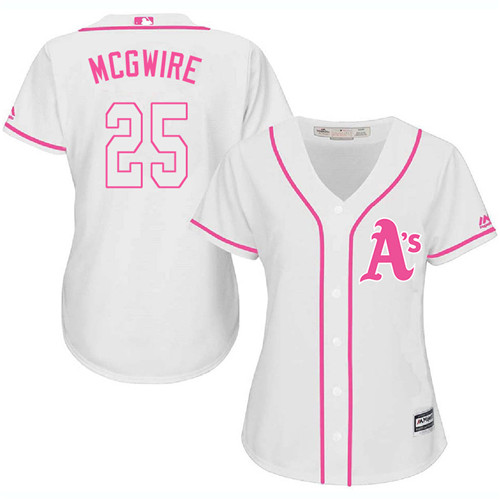 Women's Majestic Oakland Athletics #25 Mark McGwire Authentic White Fashion Cool Base MLB Jersey