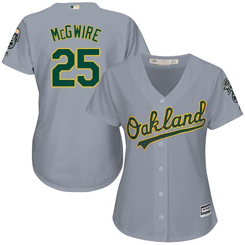 Women's Majestic Oakland Athletics #25 Mark McGwire Replica Grey Road Cool Base MLB Jersey