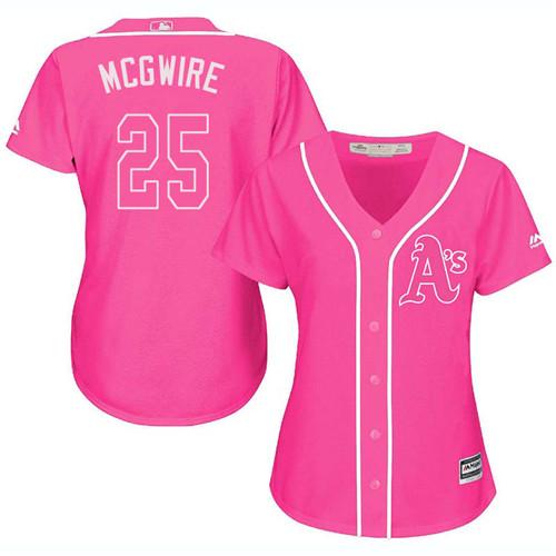 Women's Majestic Oakland Athletics #25 Mark McGwire Replica Pink Fashion Cool Base MLB Jersey