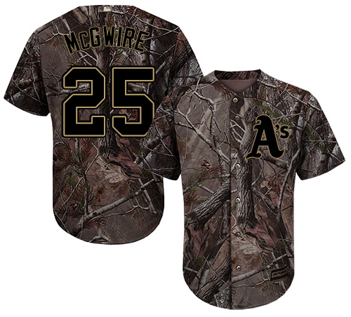 Youth Majestic Oakland Athletics #25 Mark McGwire Authentic Camo Realtree Collection Flex Base MLB Jersey