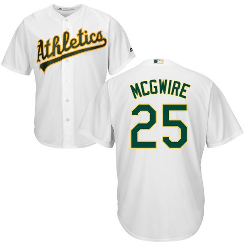 Youth Majestic Oakland Athletics #25 Mark McGwire Authentic White Home Cool Base MLB Jersey