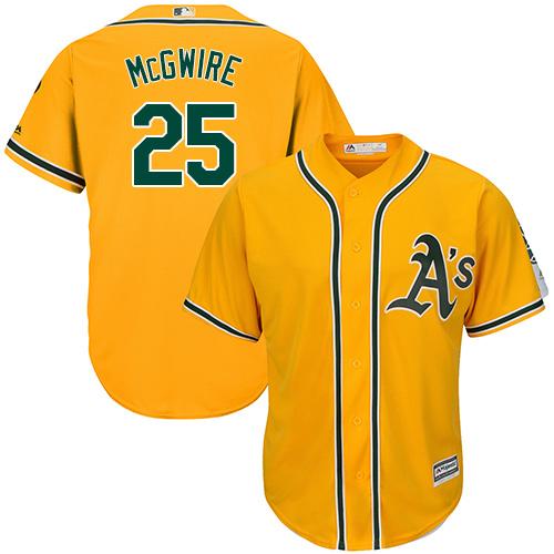 Youth Majestic Oakland Athletics #25 Mark McGwire Replica Gold Alternate 2 Cool Base MLB Jersey