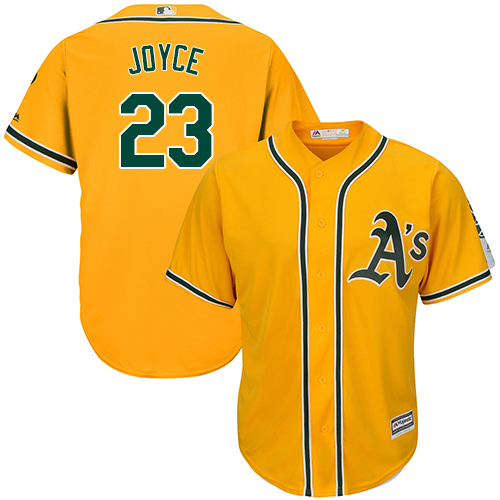 Men's Majestic Oakland Athletics #23 Matt Joyce Replica Gold Alternate 2 Cool Base MLB Jersey