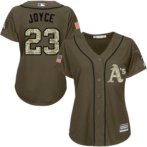 Women's Majestic Oakland Athletics #23 Matt Joyce Authentic Green Salute to Service MLB Jersey
