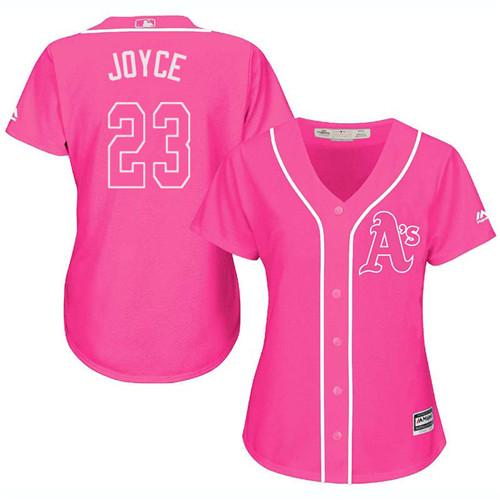 Women's Majestic Oakland Athletics #23 Matt Joyce Authentic Pink Fashion Cool Base MLB Jersey