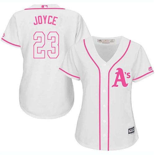 Women's Majestic Oakland Athletics #23 Matt Joyce Authentic White Fashion Cool Base MLB Jersey