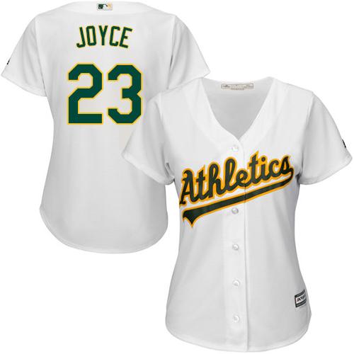 Women's Majestic Oakland Athletics #23 Matt Joyce Authentic White Home Cool Base MLB Jersey