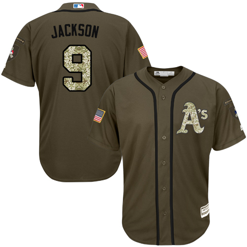 Men's Majestic Oakland Athletics #9 Reggie Jackson Authentic Green Salute to Service MLB Jersey