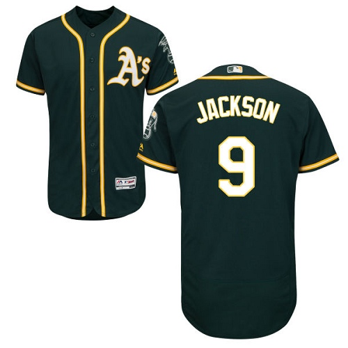 Men's Majestic Oakland Athletics #9 Reggie Jackson Green Alternate Flex Base Authentic Collection MLB Jersey