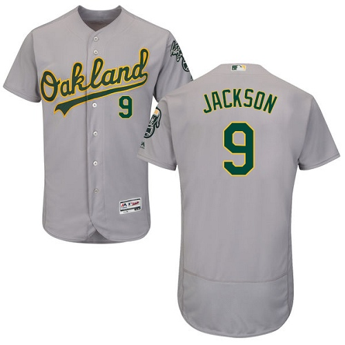 Men's Majestic Oakland Athletics #9 Reggie Jackson Grey Road Flex Base Authentic Collection MLB Jersey