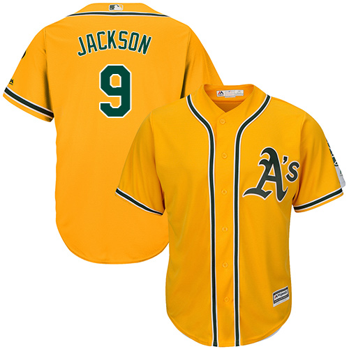 Men's Majestic Oakland Athletics #9 Reggie Jackson Replica Gold Alternate 2 Cool Base MLB Jersey