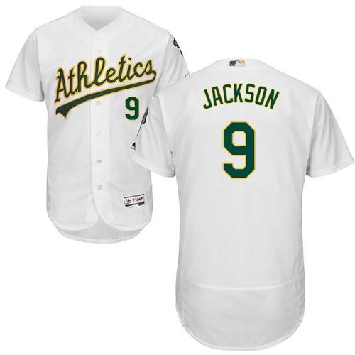 231e63e1 Men's Majestic Oakland Athletics #9 Reggie Jackson White Home Flex Base  Authentic Collection MLB Jersey
