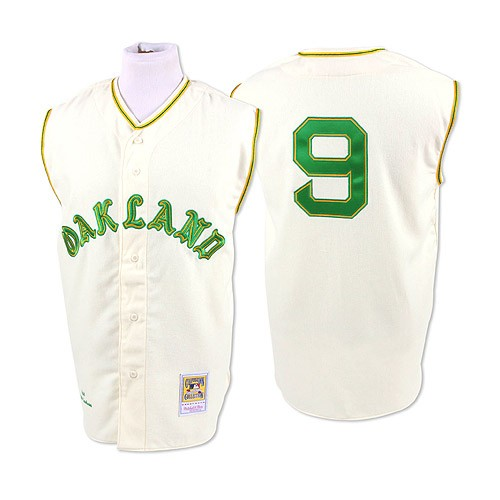 Men's Mitchell and Ness 1968 Oakland Athletics #9 Reggie Jackson Replica Cream Throwback MLB Jersey