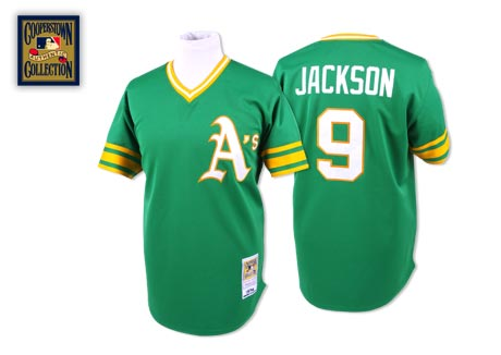 Men's Mitchell and Ness Oakland Athletics #9 Reggie Jackson Authentic Green Throwback MLB Jersey