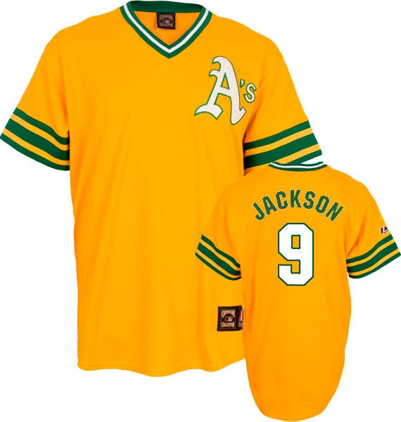 Men's Mitchell and Ness Oakland Athletics #9 Reggie Jackson Replica Gold Throwback MLB Jersey