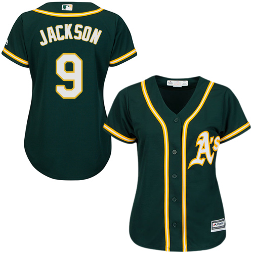Women's Majestic Oakland Athletics #9 Reggie Jackson Authentic Green Alternate 1 Cool Base MLB Jersey