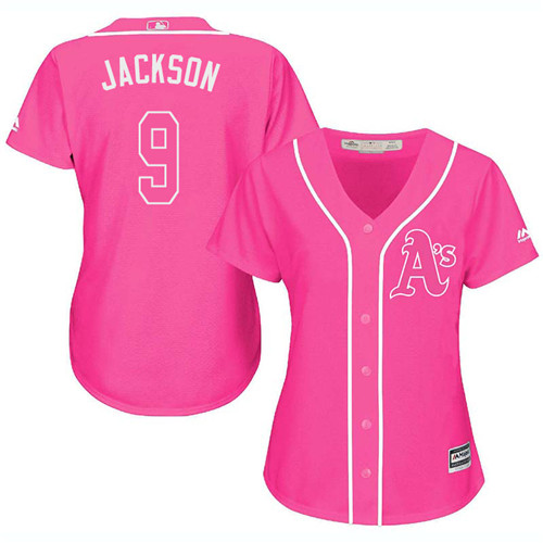 Women's Majestic Oakland Athletics #9 Reggie Jackson Authentic Pink Fashion Cool Base MLB Jersey