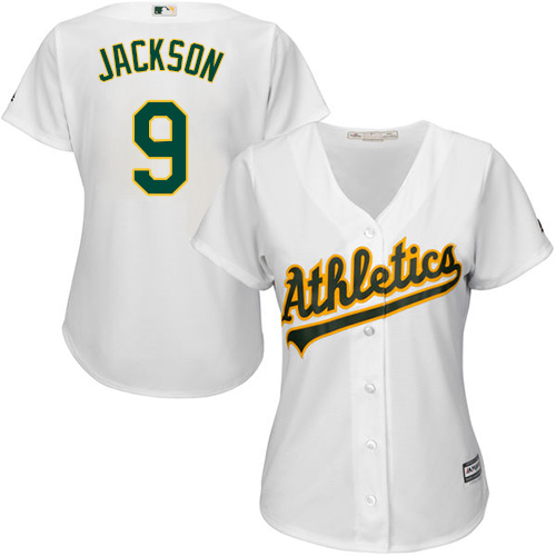 Women's Majestic Oakland Athletics #9 Reggie Jackson Authentic White Home Cool Base MLB Jersey
