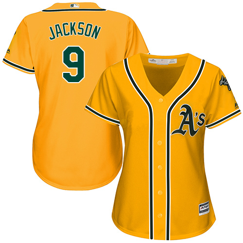 Women's Majestic Oakland Athletics #9 Reggie Jackson Replica Gold Alternate 2 Cool Base MLB Jersey