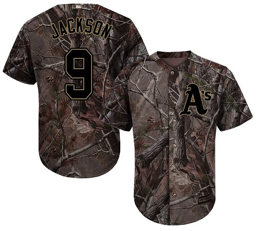 Youth Majestic Oakland Athletics #9 Reggie Jackson Authentic Camo Realtree Collection Flex Base MLB Jersey