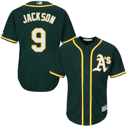 Youth Majestic Oakland Athletics #9 Reggie Jackson Authentic Green Alternate 1 Cool Base MLB Jersey