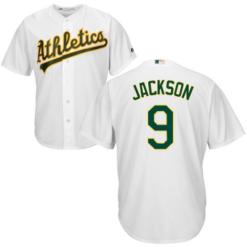 Youth Majestic Oakland Athletics #9 Reggie Jackson Authentic White Home Cool Base MLB Jersey