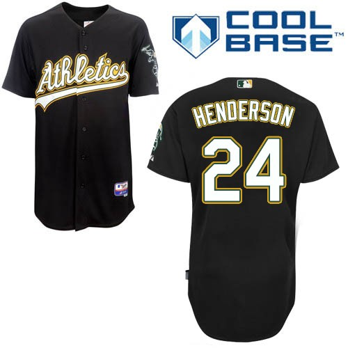 Men's Majestic Oakland Athletics #24 Rickey Henderson Authentic Black Cool Base MLB Jersey