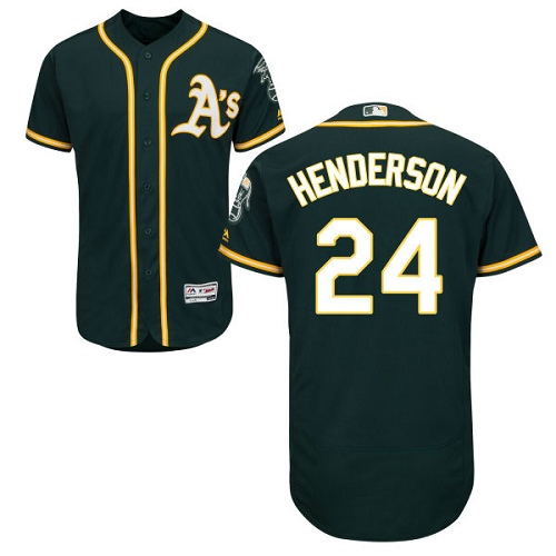 Men's Majestic Oakland Athletics #24 Rickey Henderson Green Alternate Flex Base Authentic Collection MLB Jersey