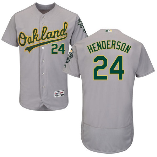 Men's Majestic Oakland Athletics #24 Rickey Henderson Grey Road Flex Base Authentic Collection MLB Jersey