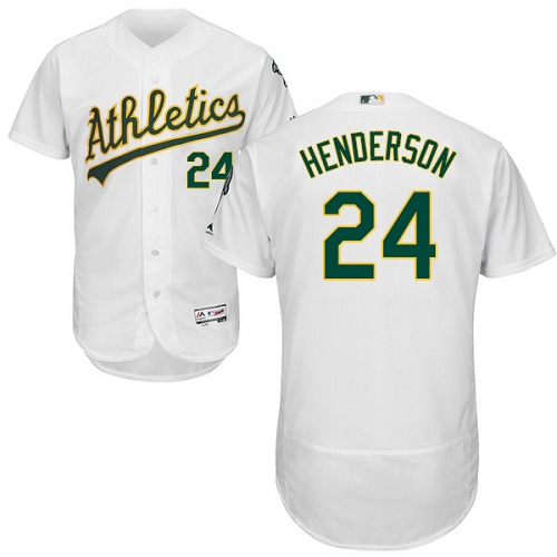 Men's Majestic Oakland Athletics #24 Rickey Henderson White Home Flex Base Authentic Collection MLB Jersey