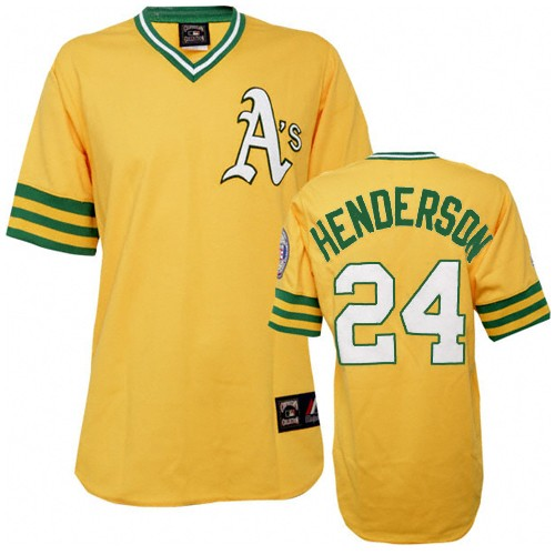 Men's Mitchell and Ness Oakland Athletics #24 Rickey Henderson Authentic Gold Throwback MLB Jersey