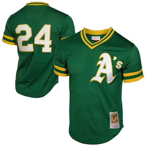 Men's Mitchell and Ness Oakland Athletics #24 Rickey Henderson Authentic Green 1991 Throwback MLB Jersey