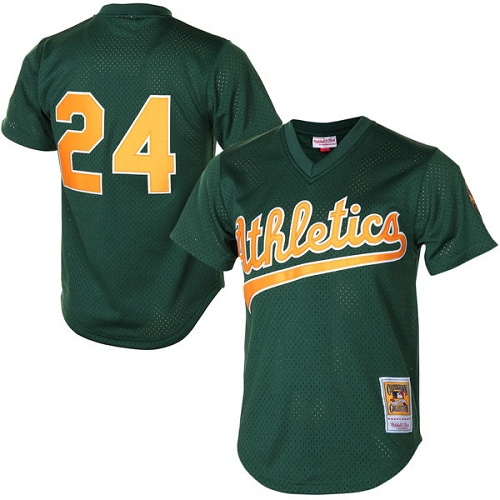 Men's Mitchell and Ness Oakland Athletics #24 Rickey Henderson Authentic Green 1998 Throwback MLB Jersey