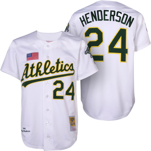 Men's Mitchell and Ness Oakland Athletics #24 Rickey Henderson Authentic White 1990 Throwback MLB Jersey