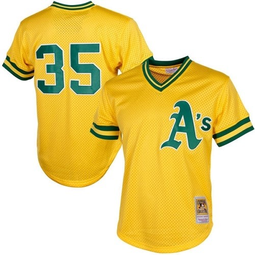 Men's Mitchell and Ness Oakland Athletics #35 Rickey Henderson Replica Gold 1984 Throwback MLB Jersey