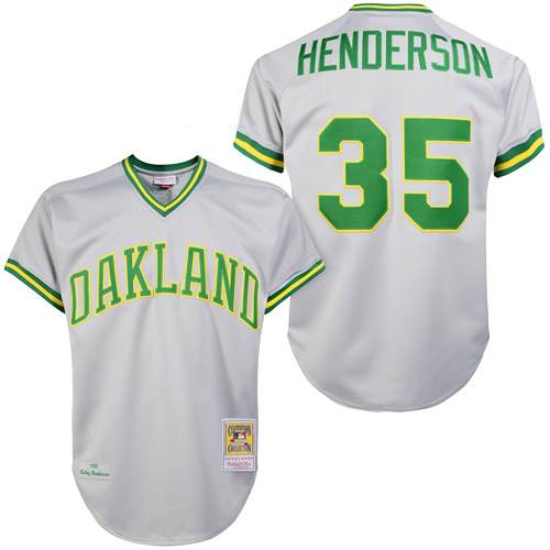 Men's Mitchell and Ness Oakland Athletics #35 Rickey Henderson Replica Grey 1981 Throwback MLB Jersey