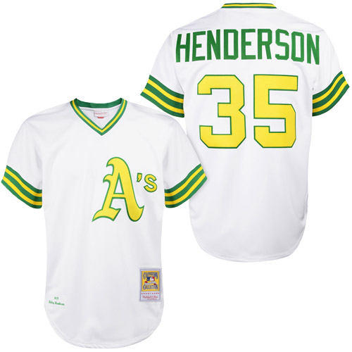 Men's Mitchell and Ness Oakland Athletics #35 Rickey Henderson Replica White 1979 Throwback MLB Jersey