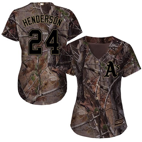 Women's Majestic Oakland Athletics #24 Rickey Henderson Authentic Camo Realtree Collection Flex Base MLB Jersey