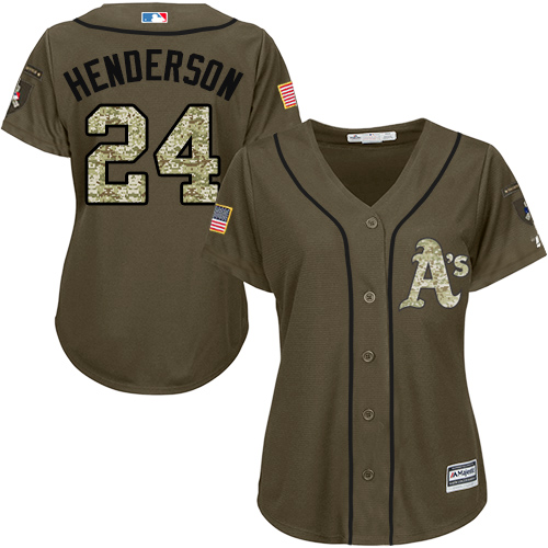 Women's Majestic Oakland Athletics #24 Rickey Henderson Authentic Green Salute to Service MLB Jersey