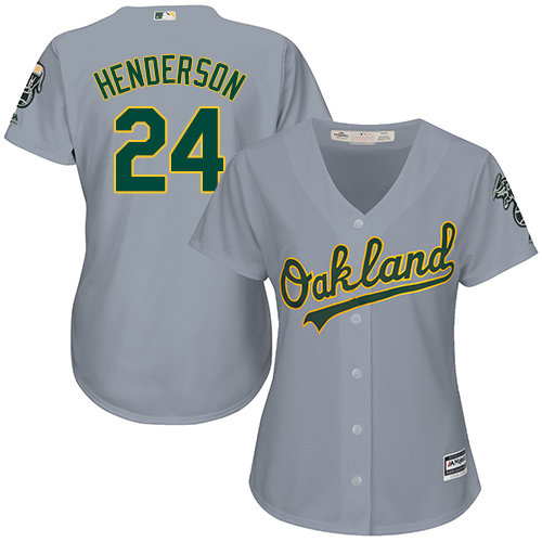 Women's Majestic Oakland Athletics #24 Rickey Henderson Authentic Grey Road Cool Base MLB Jersey